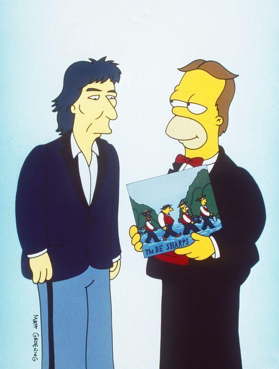 """Damals hatte Homer (r.) zusammen mit Rektor Skinner, Apu und Barney als """"Barbershop-Quartett"""" den Grammy gewonnen und von George Harrison (l.) über... - Bildquelle: und TM Twenthieth Century Fox Film Corporation - Alle Rechte vorbehalten"""
