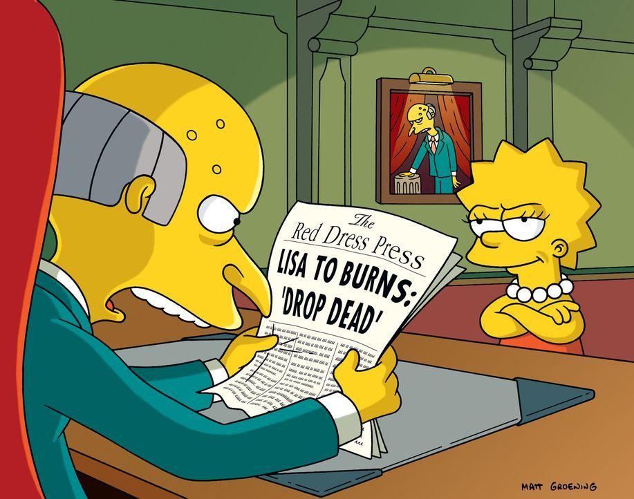 Mr. Burns (l.) versucht, sämtliche Medien der Stadt in seine Hand zu bringen, was ihm auch gelingt. Und so beschließt Lisa (r.), ihre eigene Zeitung... - Bildquelle: und TM Twentieth Century Fox Film Corporation - Alle Rechte vorbehalten