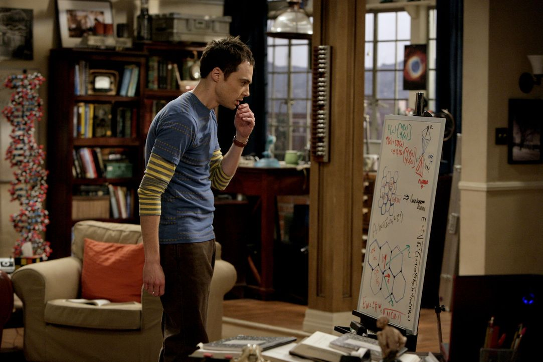 Will herausfinden, warum sich Elektronen beim Durchqueren einer Graphen-Schicht so verhalten, als hätten sie keine Masse: Sheldon (Jim Parsons) ... - Bildquelle: Warner Bros. Television