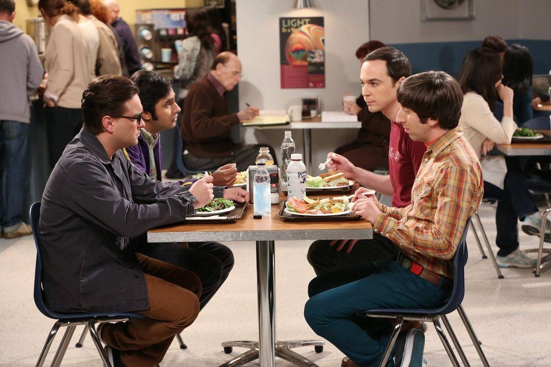 Noch ahnen Leonard (Johnny Galecki, l.), Raj (Kunal Nayyar, 2.v.l.), Sheldon (Jim Parsons, 2.v.r.) und Howard (Simon Helberg, r.) nicht, was die Fra... - Bildquelle: Warner Bros. Television