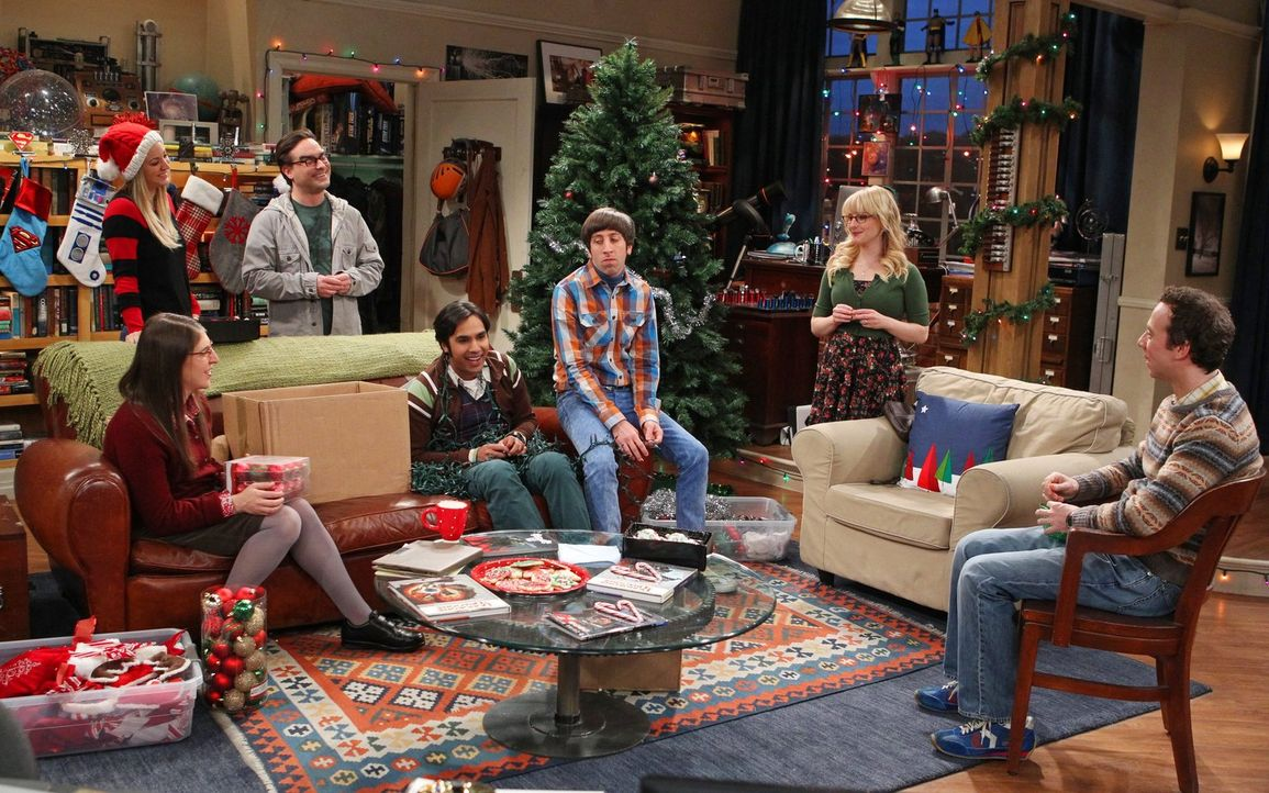 Als Sheldon für eine Weile in Texas ist, überlegen Bernadette (Melissa Rauch, 2.v.r.), Howard (Simon Helberg, 3.v.r.), Amy (Mayim Bialik, l.), Leona... - Bildquelle: Warner Bros. Television