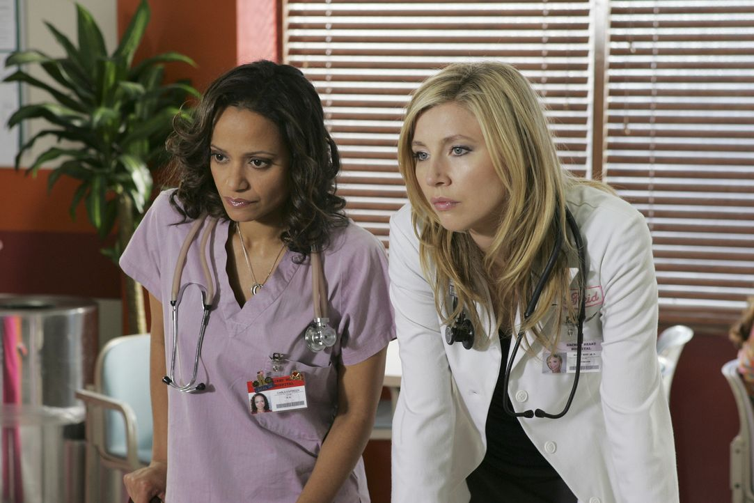 Sind es leid J.D.'s Selbstmitleid zu ertragen: Elliott (Sarah Chalke, r.) und Carla (Judy Reyes, l.) ... - Bildquelle: Touchstone Television