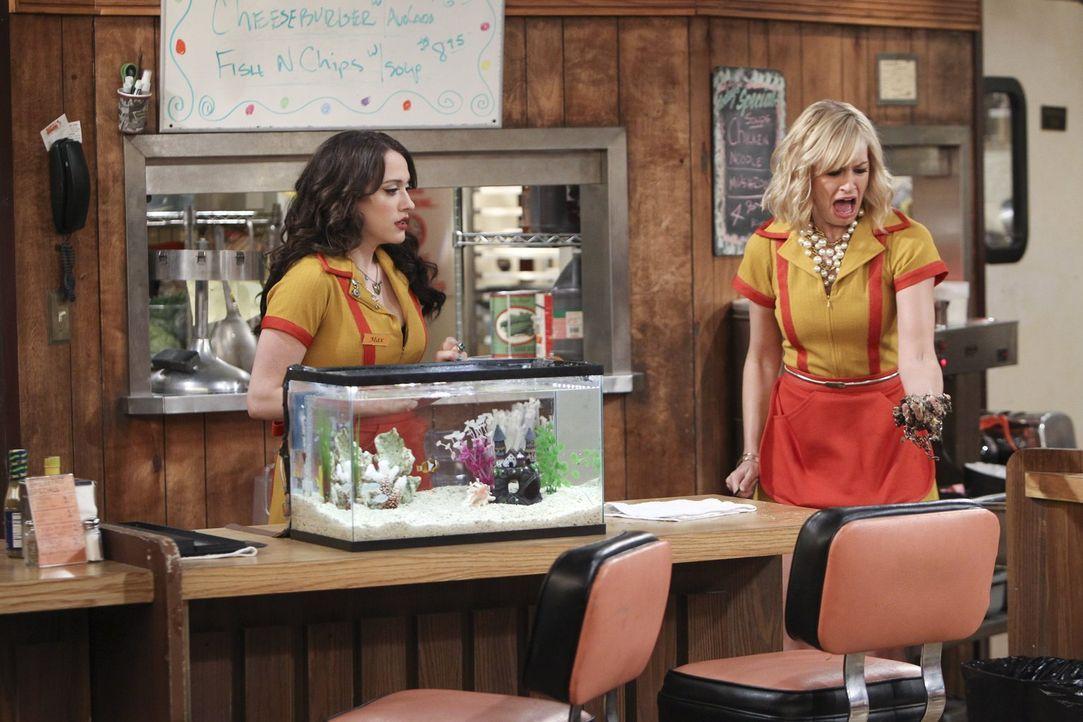 Zu spät erkennt Caroline (Beth Behrs, r.), dass das Aquarium nach dem Putzen viel zu leer ist. Kann Max (Kat Dennings, l.) ihr aus der Patsche helfe... - Bildquelle: Warner Bros. Television