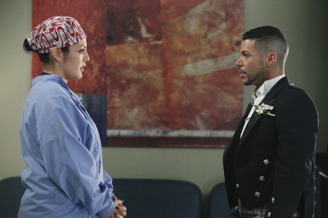 Callie (Sara Ramirez, l.) bekommt es mit dem homosexuellen Paar Brady und Kyle (Wilson Cruz, r.) zu tun. Brady wurde bei ihrer Hochzeit von Pferden... - Bildquelle: ABC Studios