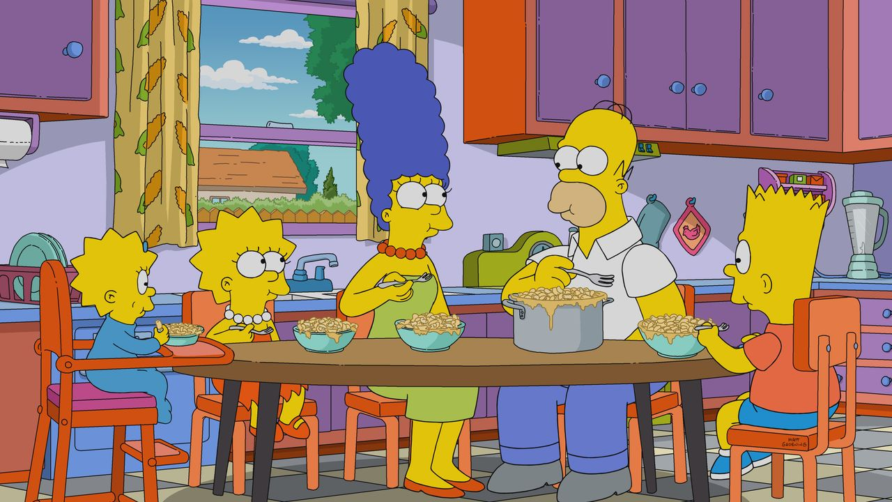 (v.l.n.r.) Maggie; Lisa; Marge; Homer; Bart - Bildquelle: 2018-2019 Fox and its related entities.  All rights reserved.