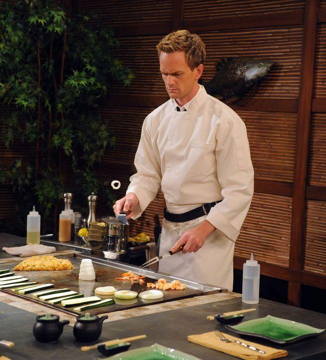 Da Barney (Neil Patrick Harris) es albern findet, wie der Koch vor ihren Augen das Essen zubereitet, schließt er eine Wette mit Marshall ab.Nun mus... - Bildquelle: 20th Century Fox International Television