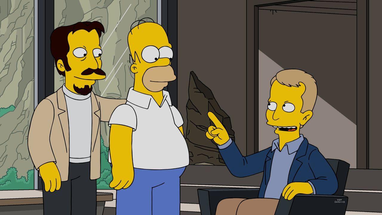 Auf Homer (M.) wartet eine spannende Herausforderung: Gemeinsam mit Bourbon Verlanders (l.) und Ken Jennings (r.) soll er Roboter unterrichten. Doch... - Bildquelle: 2016-2017 Fox and its related entities. All rights reserved.