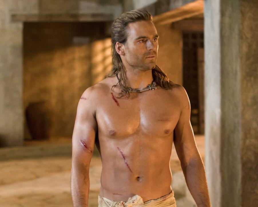Während der Machtkampf zwischen dem jungen Batiatus und seinem Vater die Gladiatorenschule weiter in Atem hält, muss Gannicus (Dustin Clare) gegen... - Bildquelle: 2010 Starz Entertainment, LLC