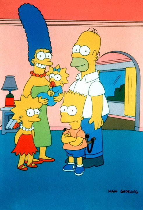 (1. Staffel) - Die Familie Simpson im trauten Heim: (v.l.n.r.) Lisa, Marge, Maggie, Bart und Homer. - Bildquelle: und TM Twentieth Century Fox Film Corporation - Alle Rechte vorbehalten