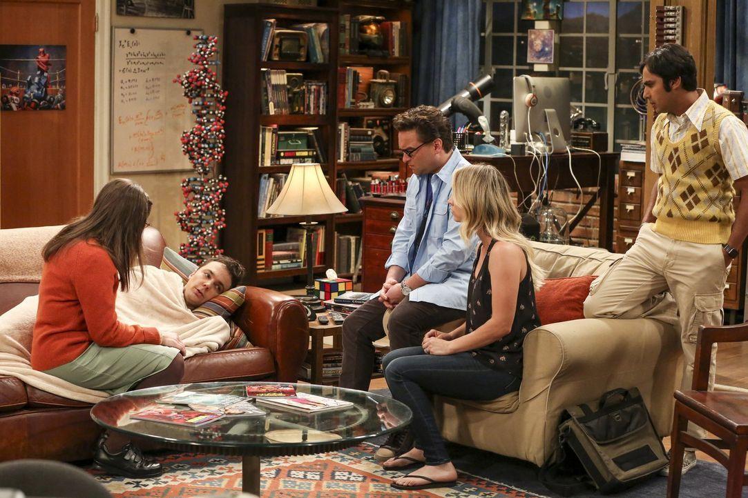 Sheldon (Jim Parsons, 2.v.l.) ist am Ende. Er sieht sich bereits im Knast. Können seine Freunde Amy (Mayim Bialik, l.), Leonard (Johnny Galecki, 2.v... - Bildquelle: 2016 Warner Brothers