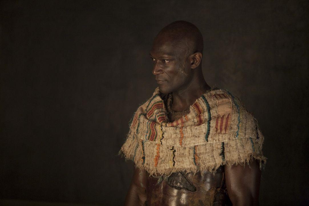 Drago (Peter Mensah) teilt den Gladiatoren mit, dass Batiatus Capua ein Geschenk bereiten möchte zum Fest der Vulkanalien. Dort sollen 20 Gladiator... - Bildquelle: 2010 Starz Entertainment, LLC