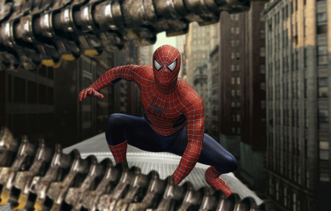 Gerade als Peter Parker mit seinem Schicksal hadert und eine folgenschwere Entscheidung treffen muss, wird Spider-Man (Tobey Maguire) dringender geb... - Bildquelle: Sony Pictures Television International. All Rights Reserved.