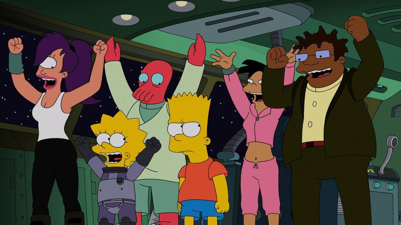 Feiern, dass sie endlich die Kreaturen bezwungen haben: (v.l.n.r.) Leela, Lisa, Zoidberg, Bart, Amy und Conrad... - Bildquelle: 2014 Twentieth Century Fox Film Corporation. All rights reserved.