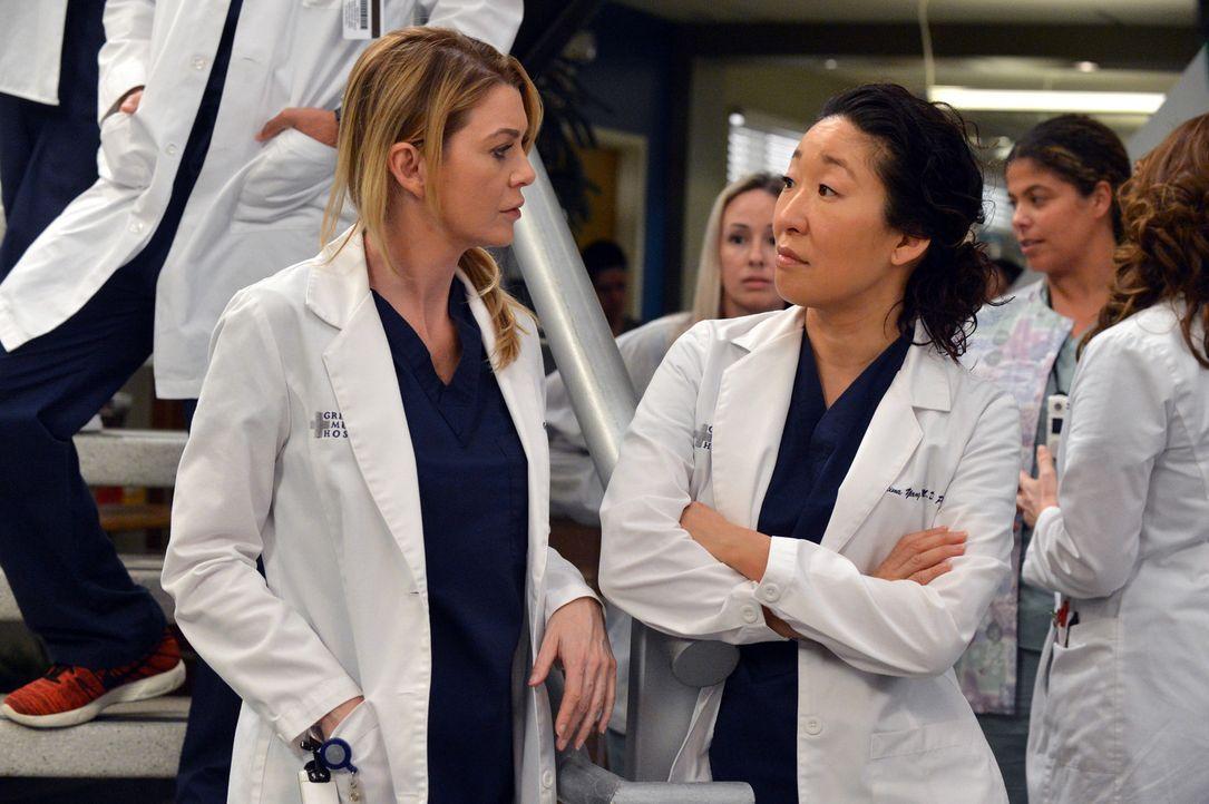 Können die neue Anti-Beziehungs-Politik im Krankenhaus nicht verstehen: Meredith (Ellen Pompeo, l.) und Cristina (Sandra Oh, r.) ... - Bildquelle: ABC Studios