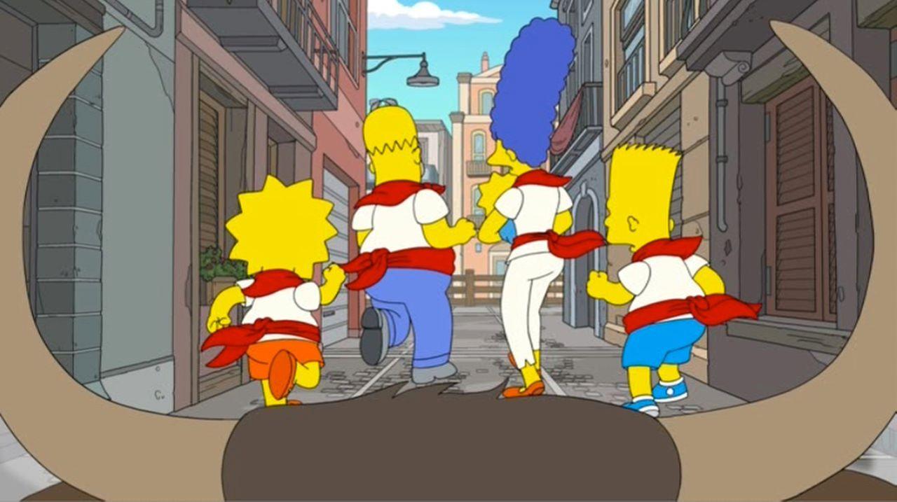 In großer Gefahr: Lisa (l.), Homer (2.v.l.), Maggie (M.), Marge (2.v.r.) und Bart (r.) ... - Bildquelle: 2013 Twentieth Century Fox Film Corporation. All rights reserved.
