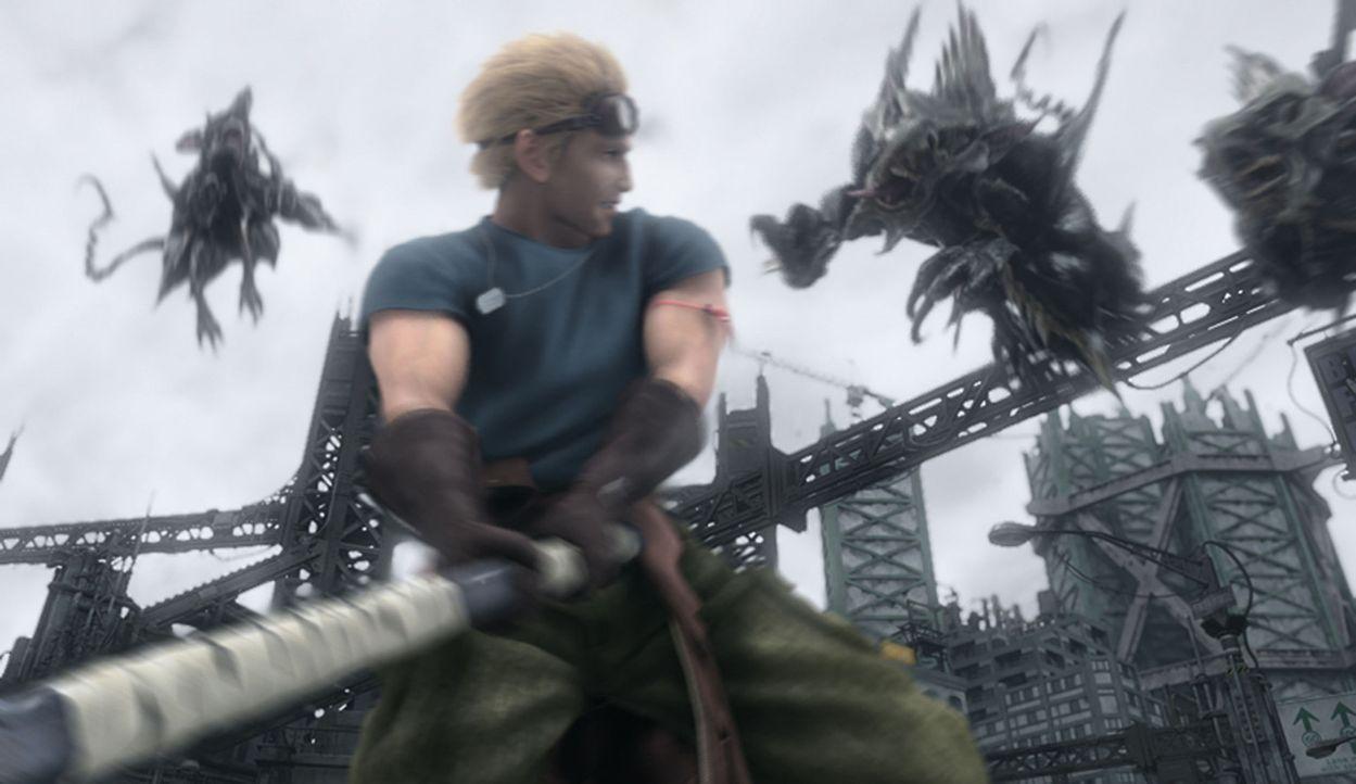 Gemeinsam mit Cid versucht Cloud, die Kinder aus den Fängen der Entführer zu befreien ... - Bildquelle: 2005 Square Enix Co., LTD. All Rights Reserved.
