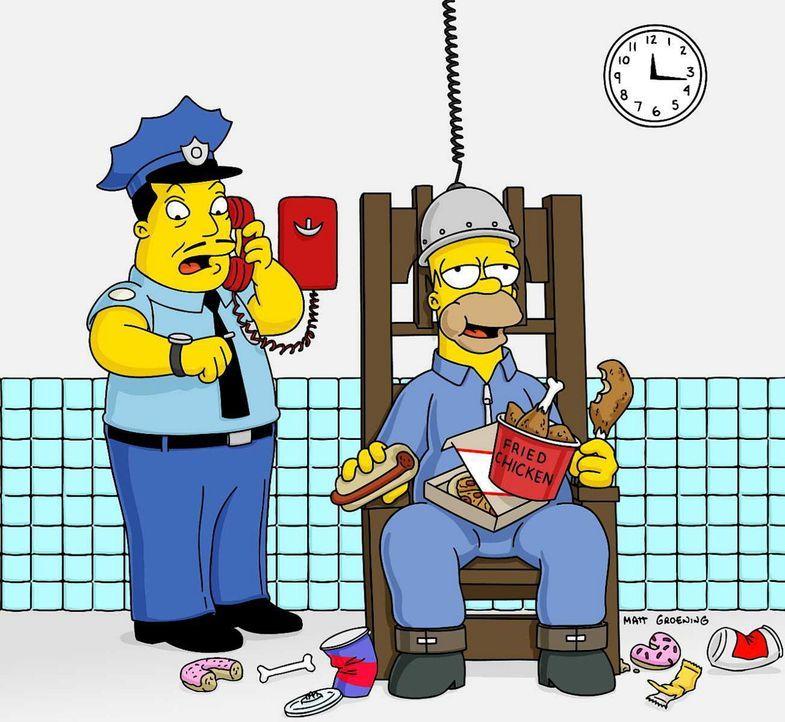 Um Marge zu retten, nimmt Homer (r.) den Mord an der alten Dame auf sich. Aber erst als er auf dem elektrischen Stuhl sitzt, stellt sich heraus, das... - Bildquelle: und TM Twenthieth Century Fox Film Corporation - Alle Rechte vorbehalten