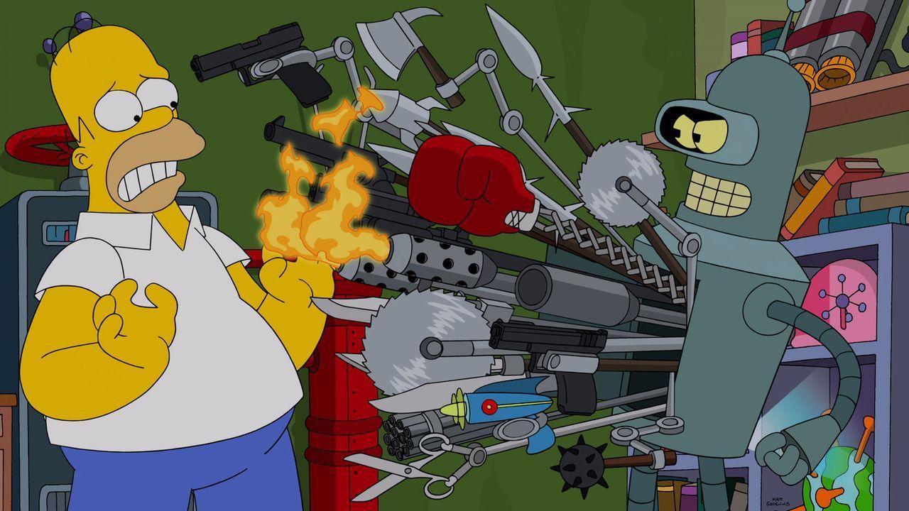 Homer (l.) findet spät heraus, warum Bender (r.) in die Vergangenheit gekommen ist ... - Bildquelle: 2014 Twentieth Century Fox Film Corporation. All rights reserved.