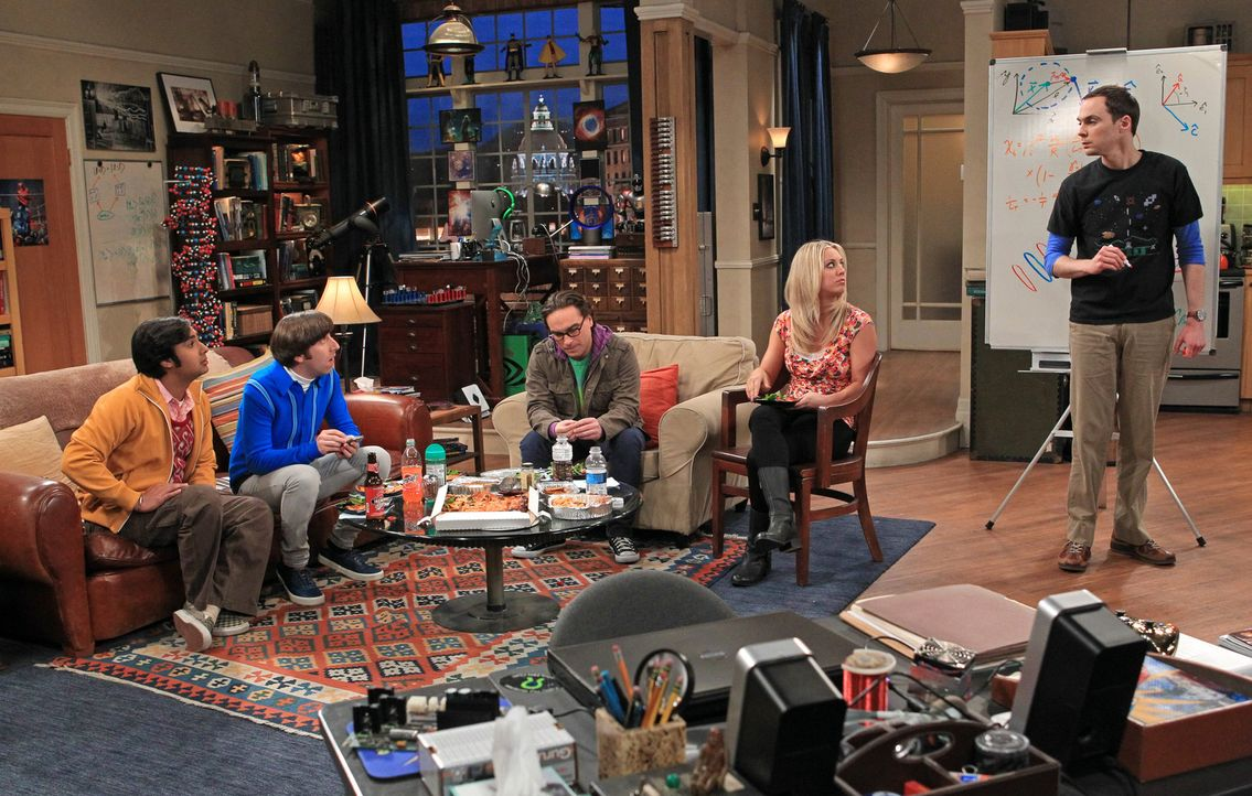 Eine ganz besondere Truppe: Howard (Simon Helberg, 2.v.l.), Sheldon (Jim Parsons, r.), Leonard (Johnny Galecki, M.), Penny (Kaley Cuoco, 2.v.r.) und... - Bildquelle: Warner Bros. Television