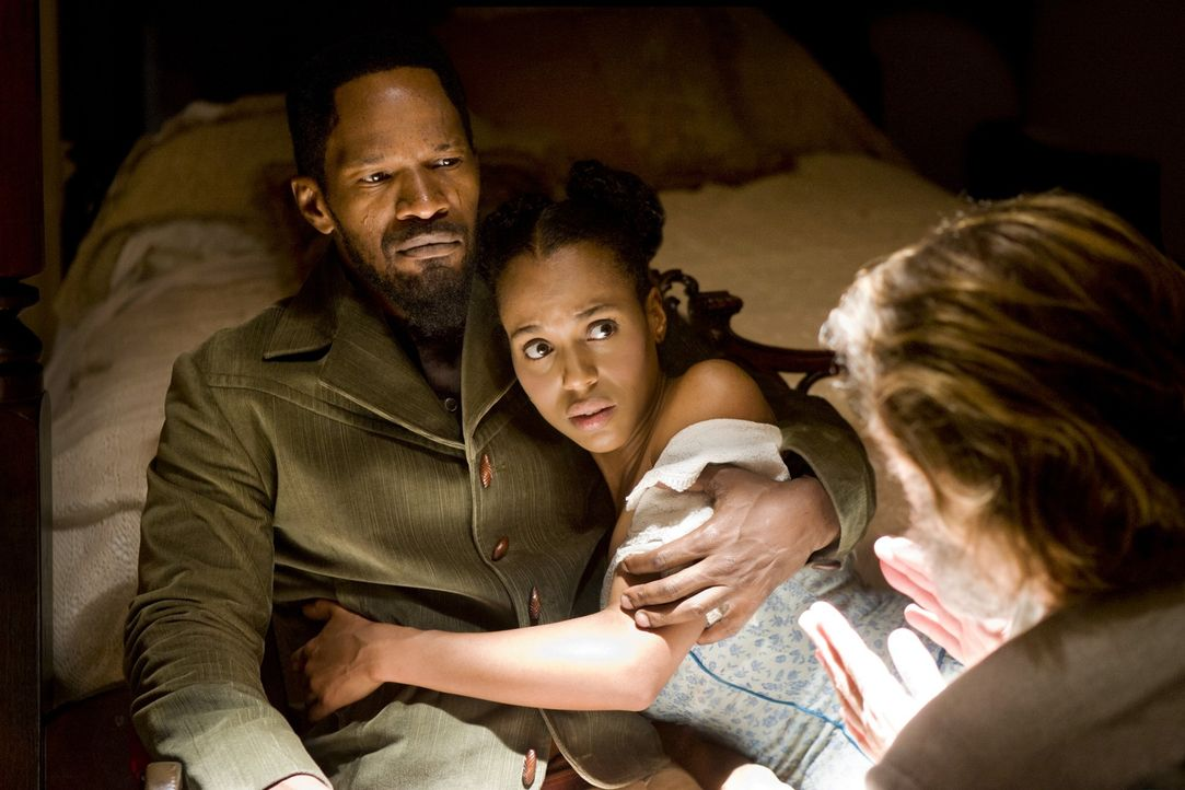 Endlich vereint, aber für immer? Django (Jamie Foxx, l.) und Broomhilda (Kerry Washington, r.) ... - Bildquelle: 2012 Columbia Pictures Industries, Inc.  All Rights Reserved.