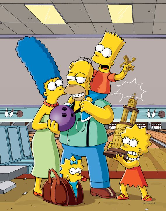 (28. Staffel) - Eine Familie mit Pfiff: Maggie (2.v.l.), Marge (l.), Homer (M.), Bart (2.v.r.) und Lisa Simpson (r.) ... - Bildquelle: 2016 - 2017 Fox and its related entities.  All rights reserved.