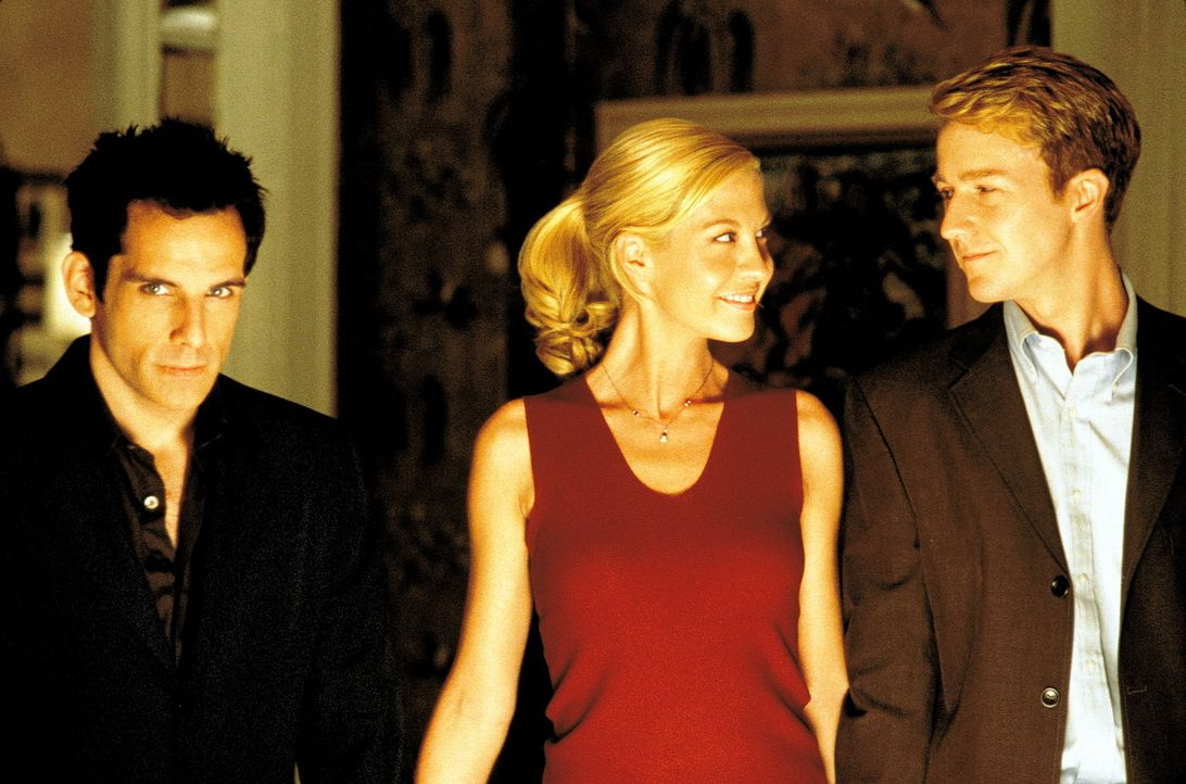 Obwohl sich Brian (Edward Norton, r.) einem zölibatären Leben verpflichtet hat, fängt er an, Anna (Jenna Elfman, M.) zu begehren. Diese jedoch ha... - Bildquelle: SPYGLASS ENTERTAINMENT GROUP, LP
