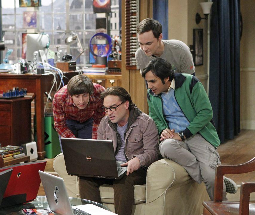 Während Sheldon (Jim Parsons, 2.v.r.) beschließt, seine eigene Convention zu veranstalten, versuchen Leonard (Johnny Galecki, 2.v.l.), Raj (Kunal Na... - Bildquelle: Warner Brothers