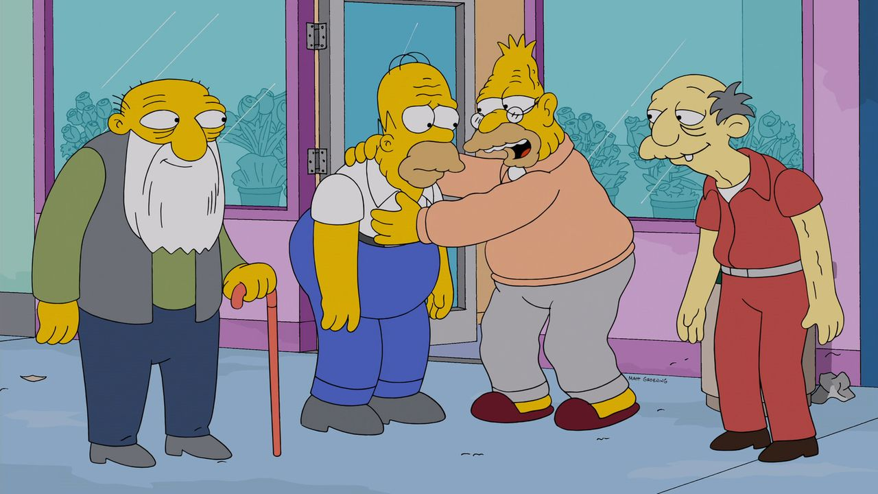 Weil Marge ein großes Herz hat, beherbergt sie nach der Schließung des Altersheims von Springfield nicht nur Grampa (2.v.r.), sondern auch Jasper (r... - Bildquelle: 2013 Twentieth Century Fox Film Corporation. All rights reserved.