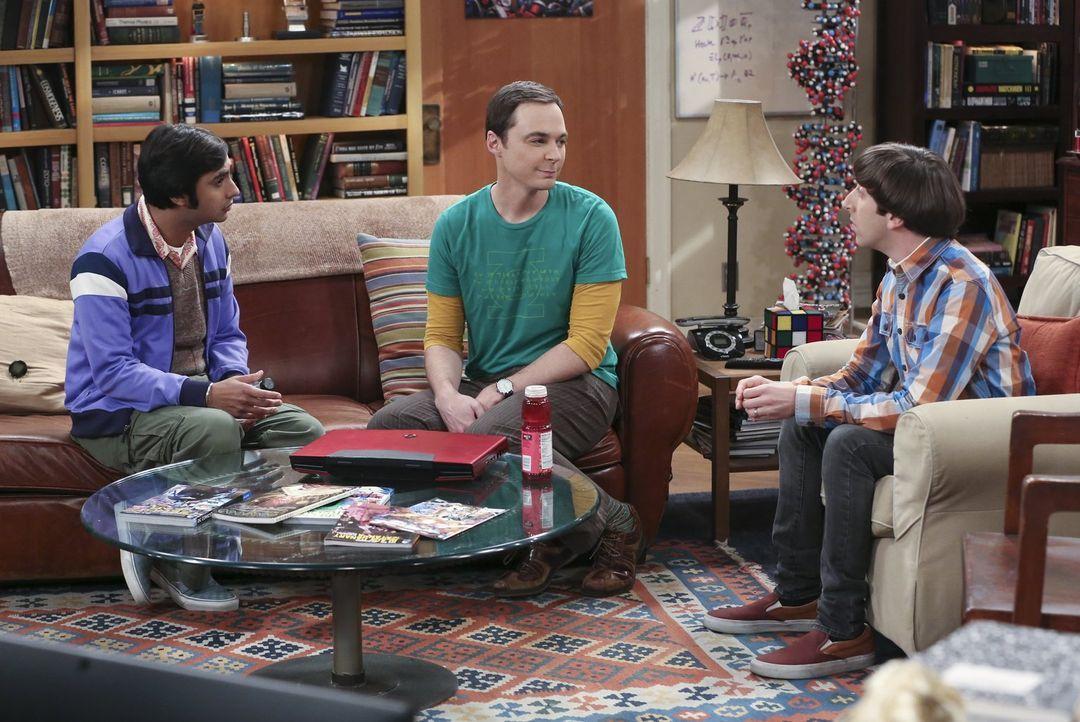 Sheldon (Jim Parsons, M.) möchte endlich eine neue Freundin. Damit dies bald geschieht, bittet er Raj (Kunal Nayyar, l.) und Howard (Simon Helberg,... - Bildquelle: 2015 Warner Brothers