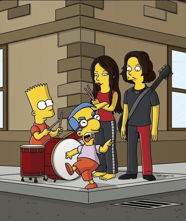 Der Kinderpsychiater empfiehlt den Simpsons, dass Bart (l.) sich dem Schlagzeugspielen widmet. Das baut nicht nur seine Aggressionen ab, sondern fö... - Bildquelle: 2007FOX BROADCASTING
