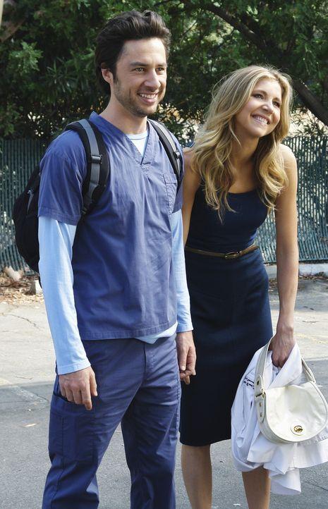 Zum Abschied hat Elliot (Sarah Chalke, r.) noch eine besondere Überraschung für J.D. (Zach Braff, l.) ... - Bildquelle: Touchstone Television