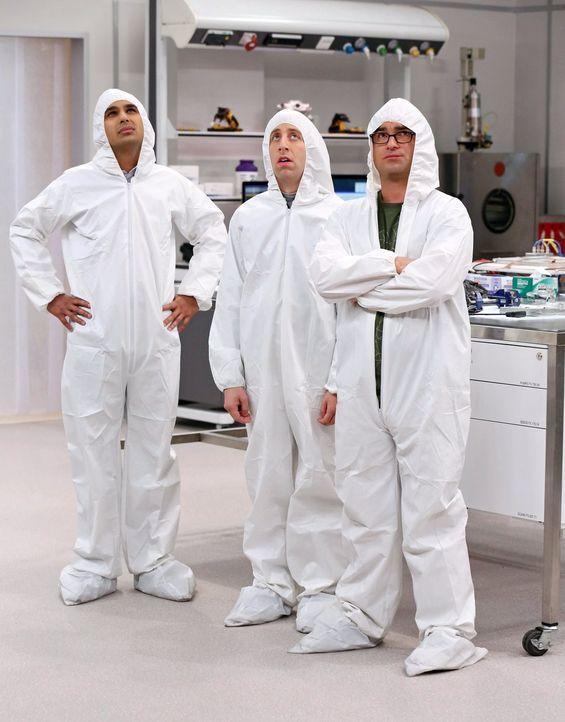 Nehmen den Kampf mit einem Vogel auf: Raj (Kunal Nayyar, l.), Howard (Simon Helberg, M.) und Leonard (Johnny Galecki, r.) ... - Bildquelle: Warner Bros. Television