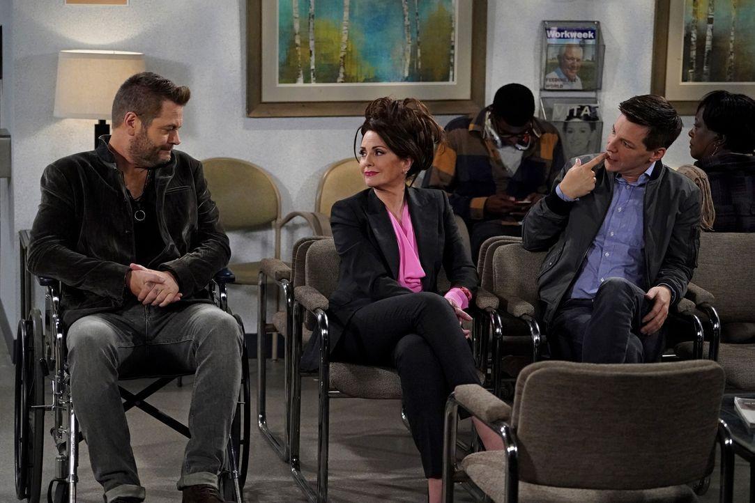 Karen (Megan Mullally, M.) und Jack (Sean Hayes, r.) leiden unter einem so starken Ohrwurm, dass sie zum Arzt müssen, während Jackson Boudreaux (Nic... - Bildquelle: Chris Haston 2017 NBCUniversal Media, LLC