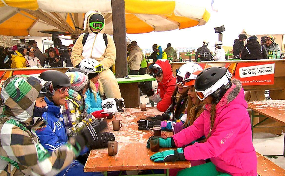 Pistenspaß und Après -Ski: Der Pole (4.v.r.), Emilio (l.), Lory Glory (2.v.r.), Ling-Ling (3.v.l.), Leo (4.v.l.), Bauer (r.), Gee (3.v.r.) und Mai... - Bildquelle: ProSieben