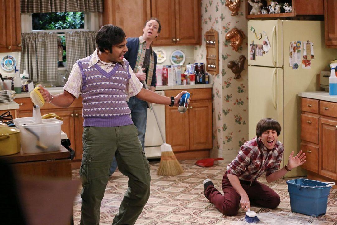 Was ist hier den los? Raj (Kunal Nayyar, l.), Howard (Simon Helberg, r.) und Stuart (Kevin Sussman, M.) ... - Bildquelle: Warner Bros. Television