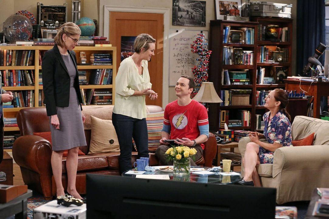 Mit wem kann Penny (Kaley Cuoco, 2.v.l.) besser? Mary (Laurie Metcalf, r.) oder Beverly (Christine Baranski, l.)? Sheldon (Jim Parsons, 2.v.r.) sieh... - Bildquelle: Warner Bros. Television