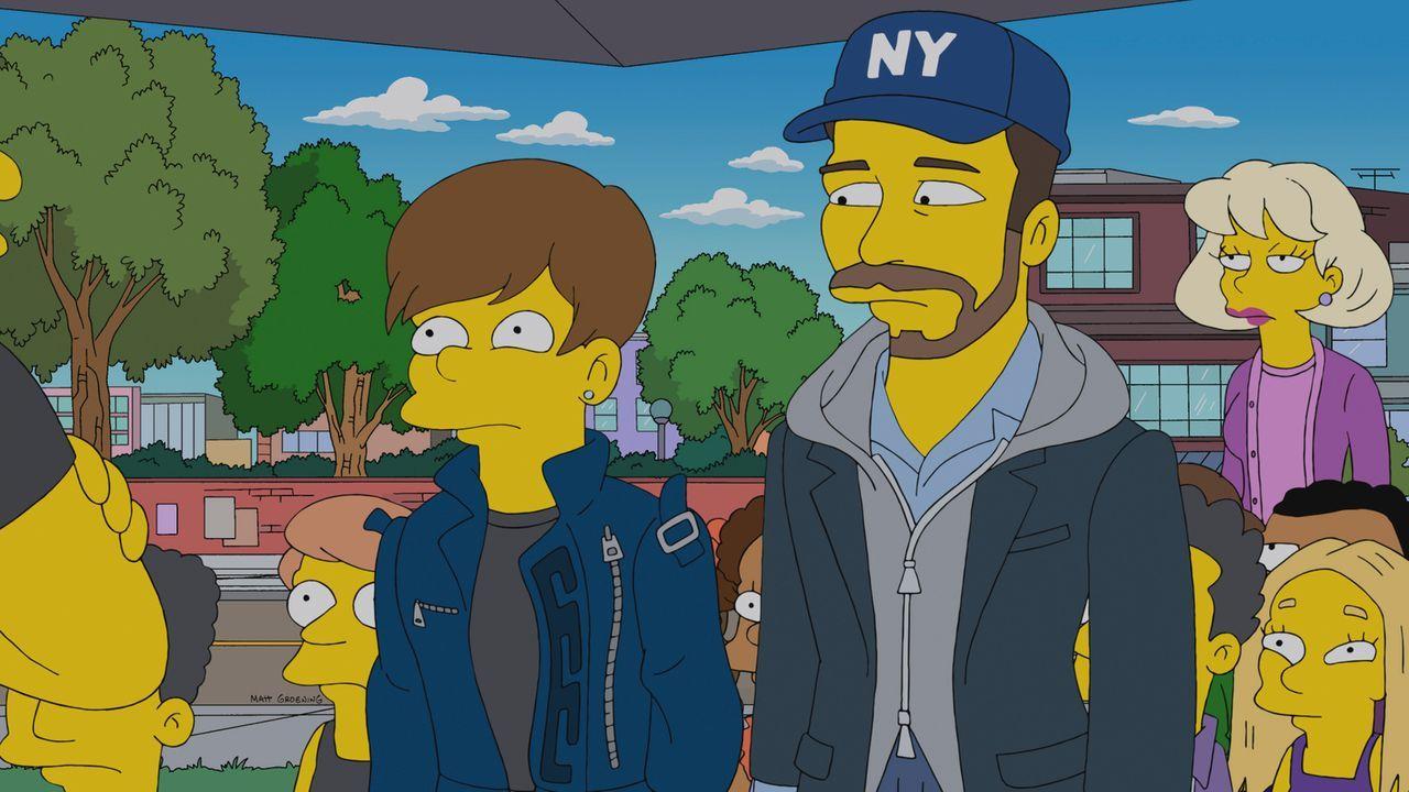 Was macht Justin Bieber (l.) nur in Springfield? - Bildquelle: und TM Twentieth Century Fox Film Corporation - Alle Rechte vorbehalten