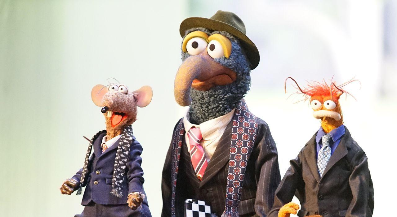 Während Miss Piggy Freunde fürs Leben sucht, lassen sich Gonzo (M.), Pepe (r.) und Rizzo (l.) von Pizza um den Finger wickeln ... - Bildquelle: Kelsey McNeal ABC Studios