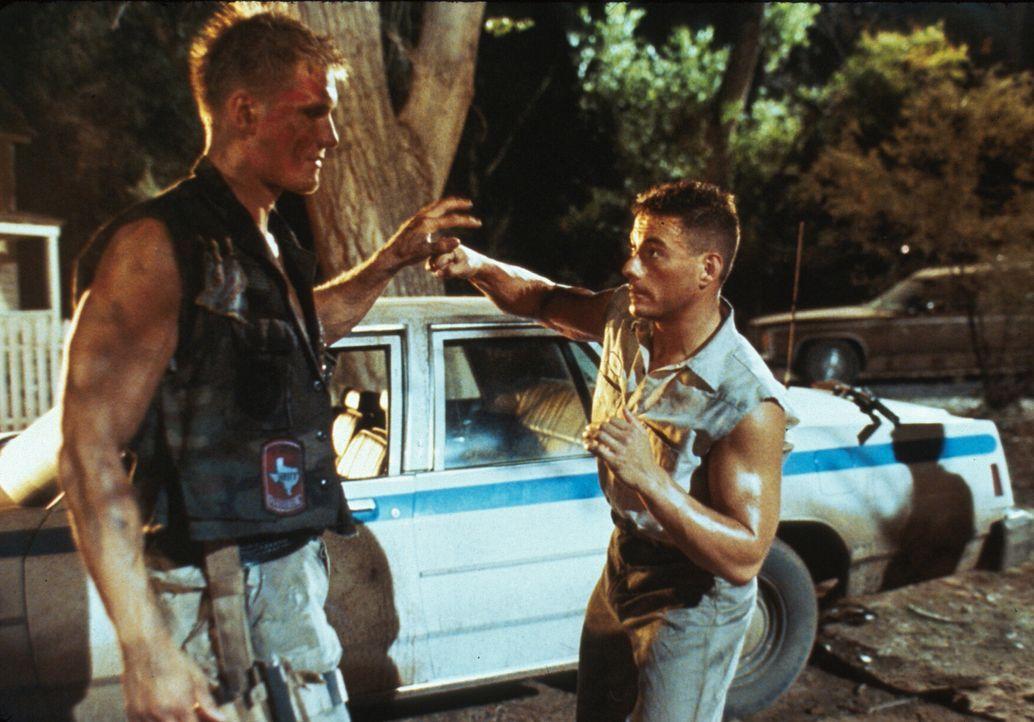 Als Luc Devreux (Jean-Claude Van Damme, r.) und sein Kollege Andrew (Dolph Lundgren, l.) ihr Gedächtnis zurückerlangen, beginnen sie einen eiskalten... - Bildquelle: 1992 TriStar Pictures