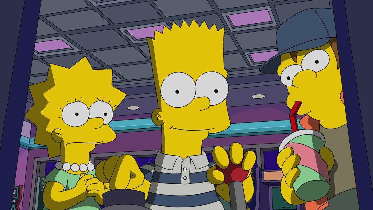 (v.l.n.r.) Lisa; Bart; Nelson - Bildquelle: 2019-2020 Twentieth Century Fox Film Corporation.  All rights reserved.