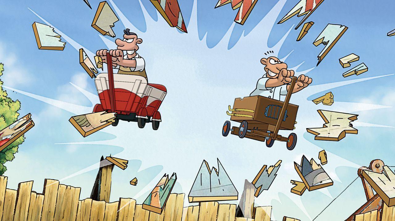 Bereits im Kleinkinderalter liefern sich Werner (r.) und Holgi (l.) unerbittliche Rennduelle ... - Bildquelle: 2011 Constantin Film Verleih GmbH