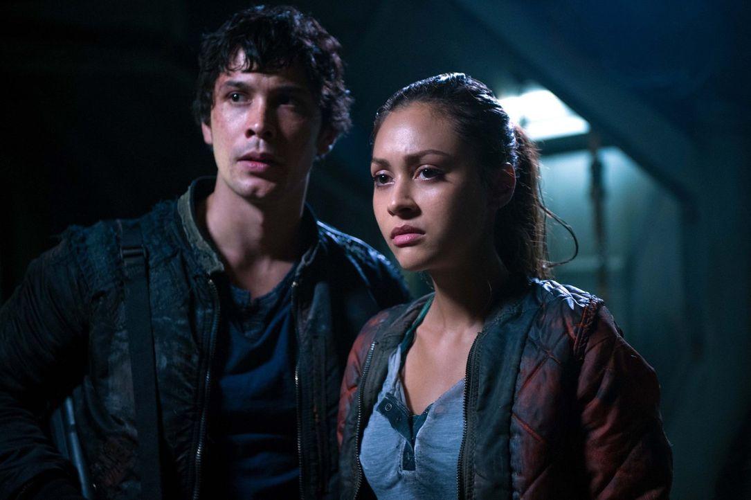 Noch ahnen Bellamy (Bob Morley, l.) und Raven (Lindsey Morgan, r.) nicht, wie der Versuch, Finn zu retten, ausgehen wird ... - Bildquelle: 2014 Warner Brothers