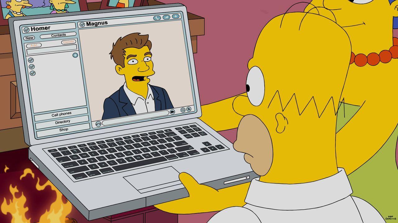 Schachmeister Magnus (l.) hat für Homer (r.) vor allem einen weisen Rat: Man kann nicht vor dem Schachspiel davonrennen ... - Bildquelle: 2016-2017 Fox and its related entities. All rights reserved.