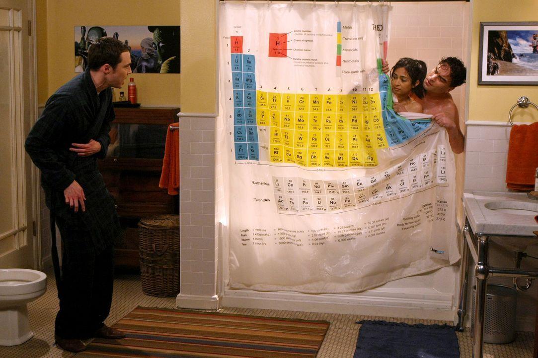 Priya (Aarti Mann, M.) nutzt ihre Kenntnisse als Anwältin, um den Mitbewohner-Vertrag zwischen Sheldon (Jim Parsons, l.) und Leonard (Johnny Galecki... - Bildquelle: Warner Bros. Television