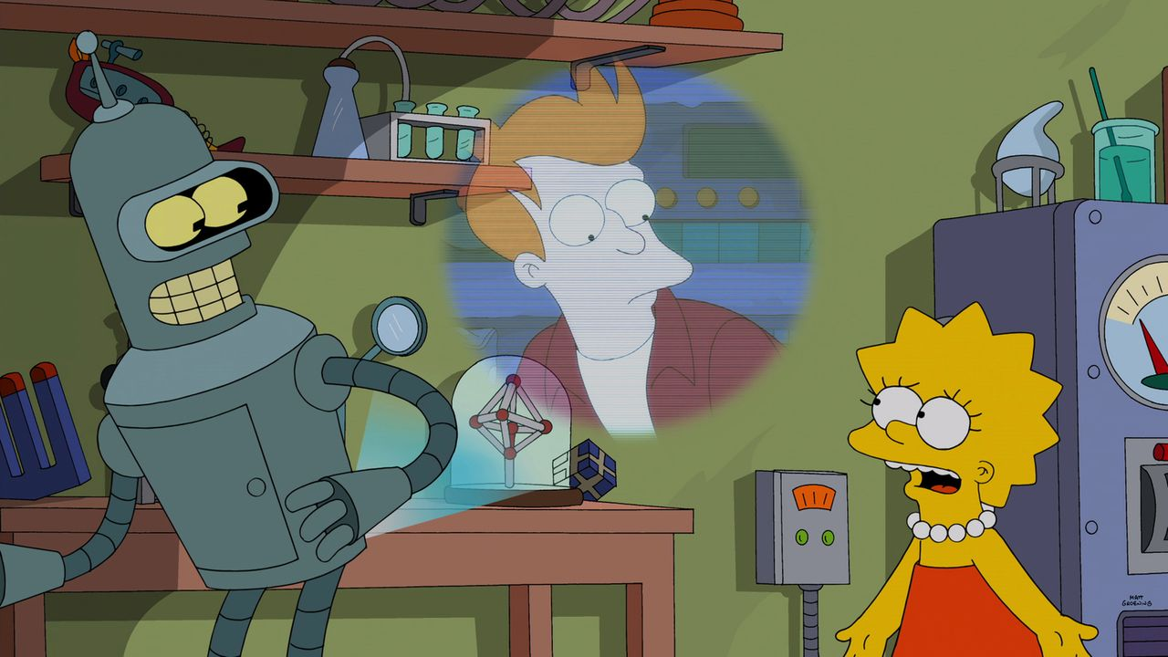 Kann Lisa (r.) Fry (M.) davon überzeugen, Homer nicht zu töten und Bender (l.) in die Zukunft zurückzuholen? - Bildquelle: 2014 Twentieth Century Fox Film Corporation. All rights reserved.