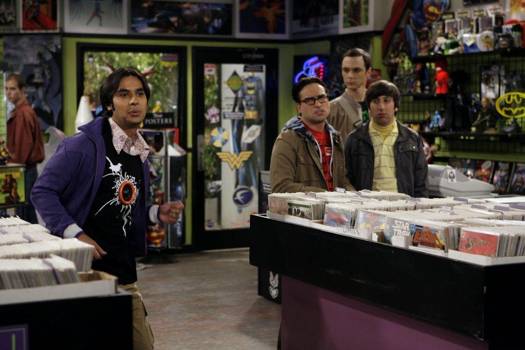 Als die berühmte Comiclegende Stan Lee eine Autogrammstunde in Stuarts Comicbuchladen gibt, sind Freunde Leonard (Johnny Galecki, 2.v.l.), Sheldon... - Bildquelle: Warner Bros. Television