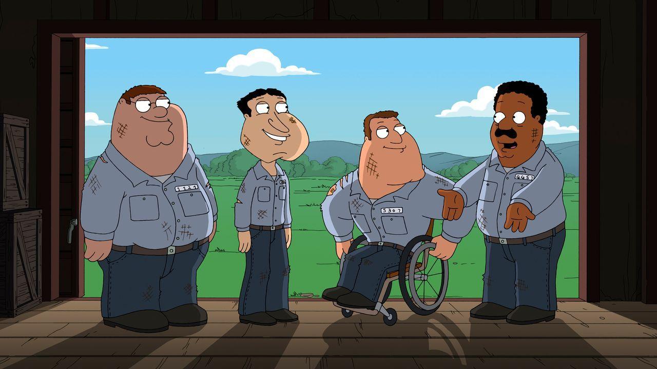 Werden Peter (l.), Cleveland (r.), Joe (2.v.r.) und Quagmire (2.v.l.) das Arbeitslager je wieder verlassen können? - Bildquelle: 2011 Twentieth Century Fox Film Corporation. All rights reserved.