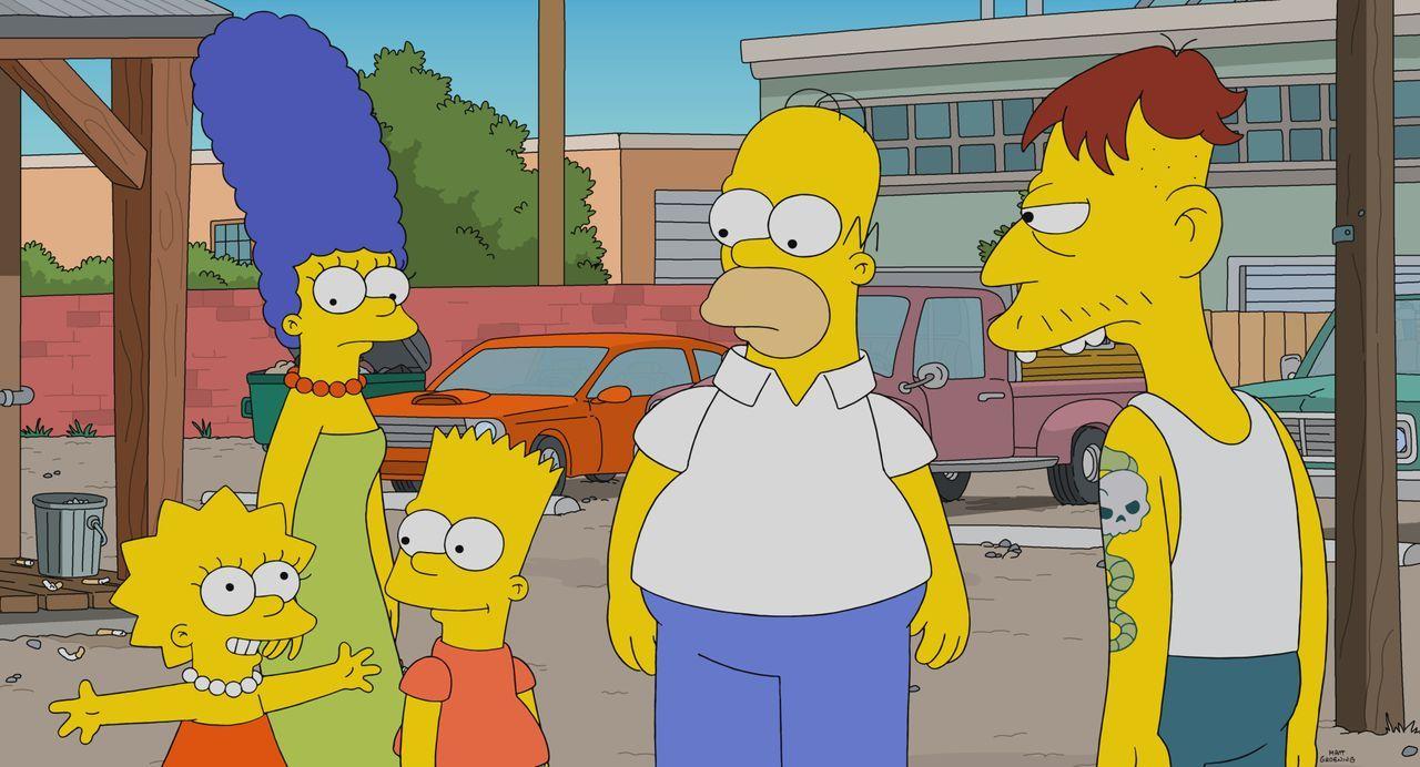 (v.l.n.r.) Lisa; Marge; Bart; Homer; Cletus - Bildquelle: 2021 by 20th Television.
