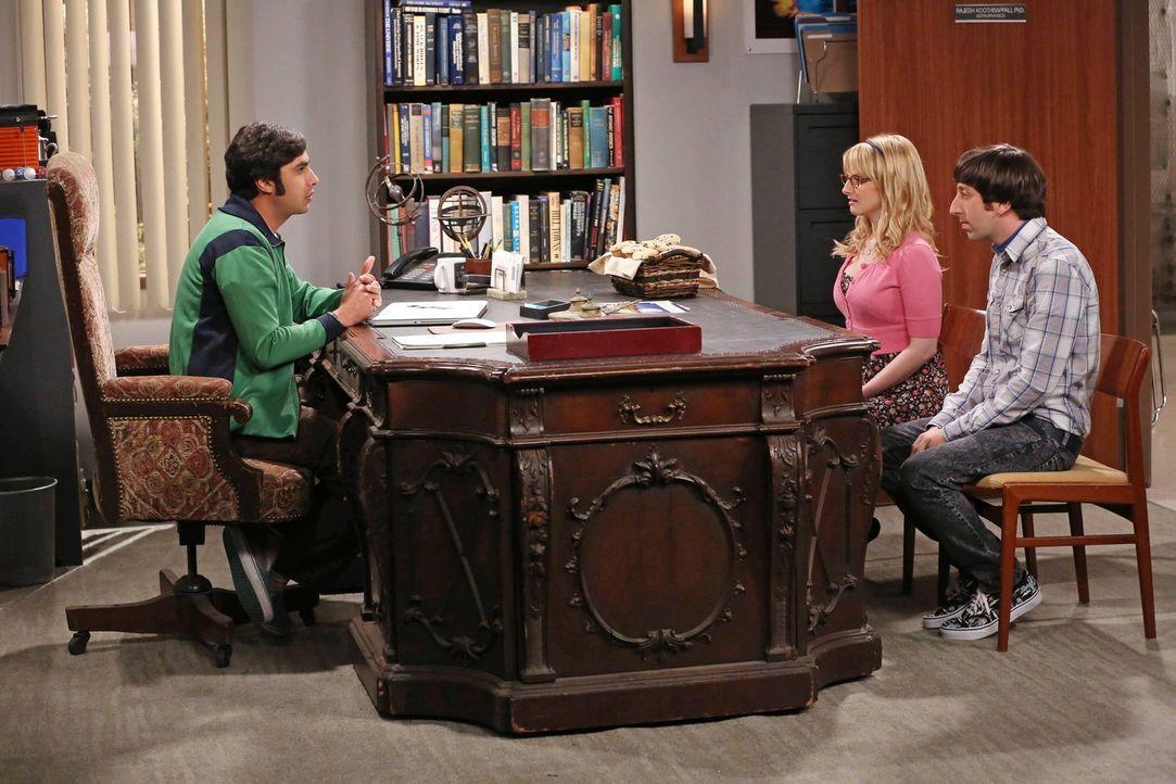 Raj (Kunal Nayyar, l.) findet heraus, dass sich seine Eltern getrennt haben, was Howard (Simon Helberg, r.) und Bernadette (Melissa Rauch, M.) in ei... - Bildquelle: Warner Bros. Television
