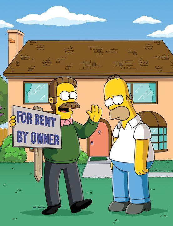 Homer (r.) hat mal wieder über die Stränge geschlagen und die Familie wird Opfer der Zwangsversteigerung ihres Hauses. Ned Flanders (l.) hat Mitle... - Bildquelle: und TM Twentieth Century Fox Film Corporation - Alle Rechte vorbehalten
